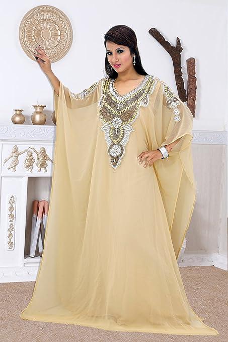 656c24a87aa Cream Designer Arabic Dubai Style Kaftan Farasha Jalabiya Abaya Moroccan  Maxi Dress   EID SPECIAL