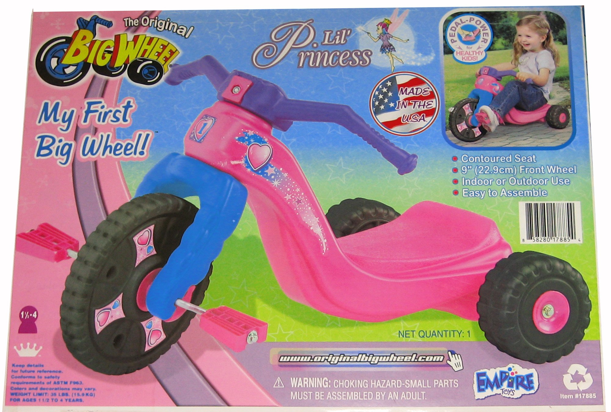 Little Princess My First Original Big Wheel for Girls 9'' Trike with Black Wheels
