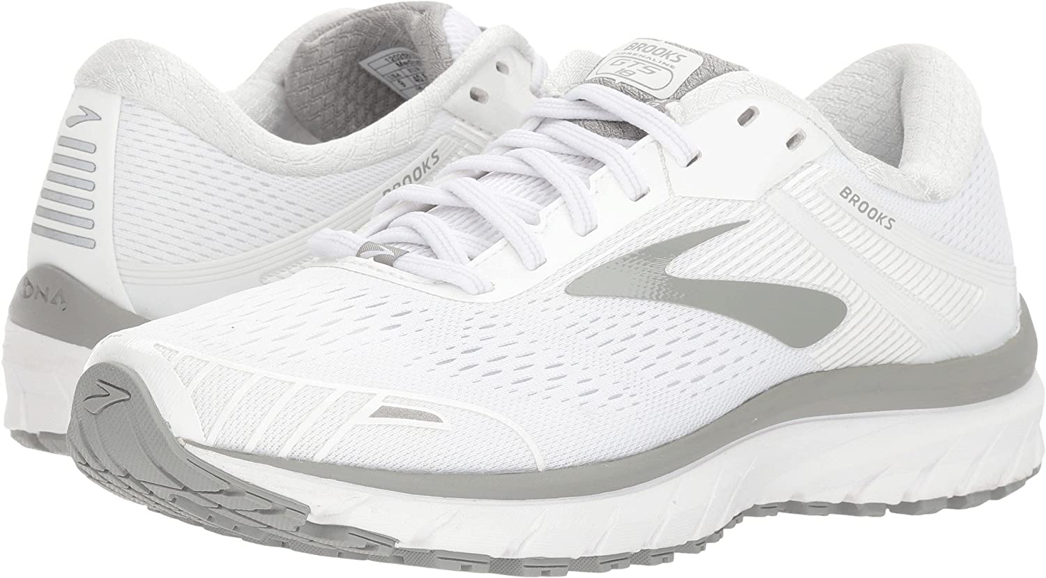 Brooks Womens Adrenaline GTS 18 B072BNFNQV 7.5 B(M) US|White/White/Grey