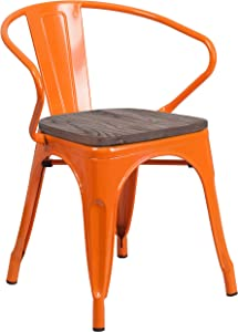 Flash Furniture Orange Metal Chair with Wood Seat and Arms