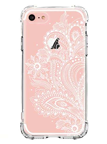 timeless design 51658 01e2b iPhone 5 case,iPhone 5s Se Case,LUOLNH White Henna Mandala Transparent  Clear Design TPU Bumper Protective Shockproof Back Case Cover for iPhone 5  5s ...