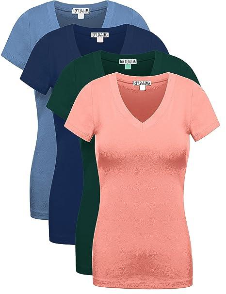 609ea6150d0264 Top Legging Comfy Basic Cotton Short Sleeves Solid V-Neck Plain T-Shirts for