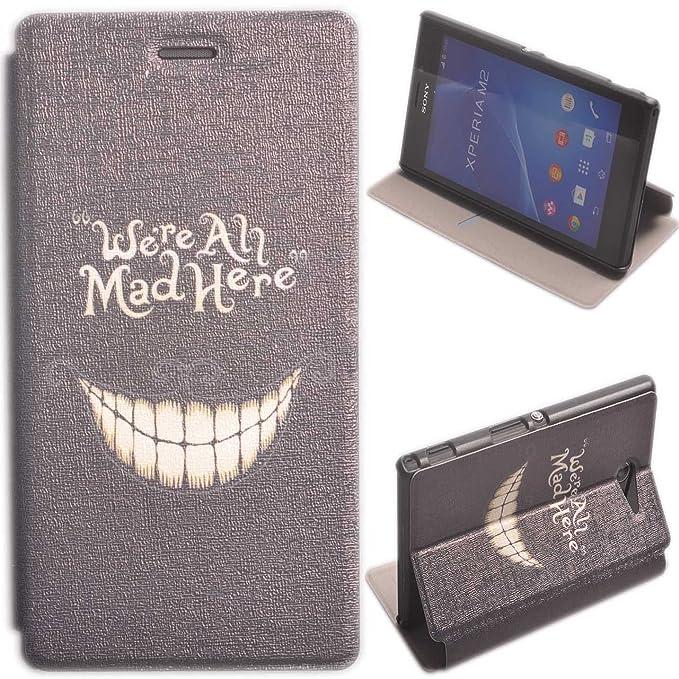 Voguecase® Funda Carcasa Cuero Tapa Case Cover Para Sony Xperia M2 (Mad Here) + Gratis aguja de la pantalla stylus universales