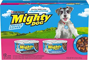 Purina Mighty Dog in Gravy Wet Dog Food Variety Pack - (2 Packs of 12) 5.5 oz. Cans