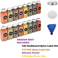 8 Extra Large, 8oz, Glass Spice Jars with pre-Printed Spice Labels. 8 Square Empty Jars, Airtight Cap, Chalkboard & Clear Label, Pour/Sift Shakers
