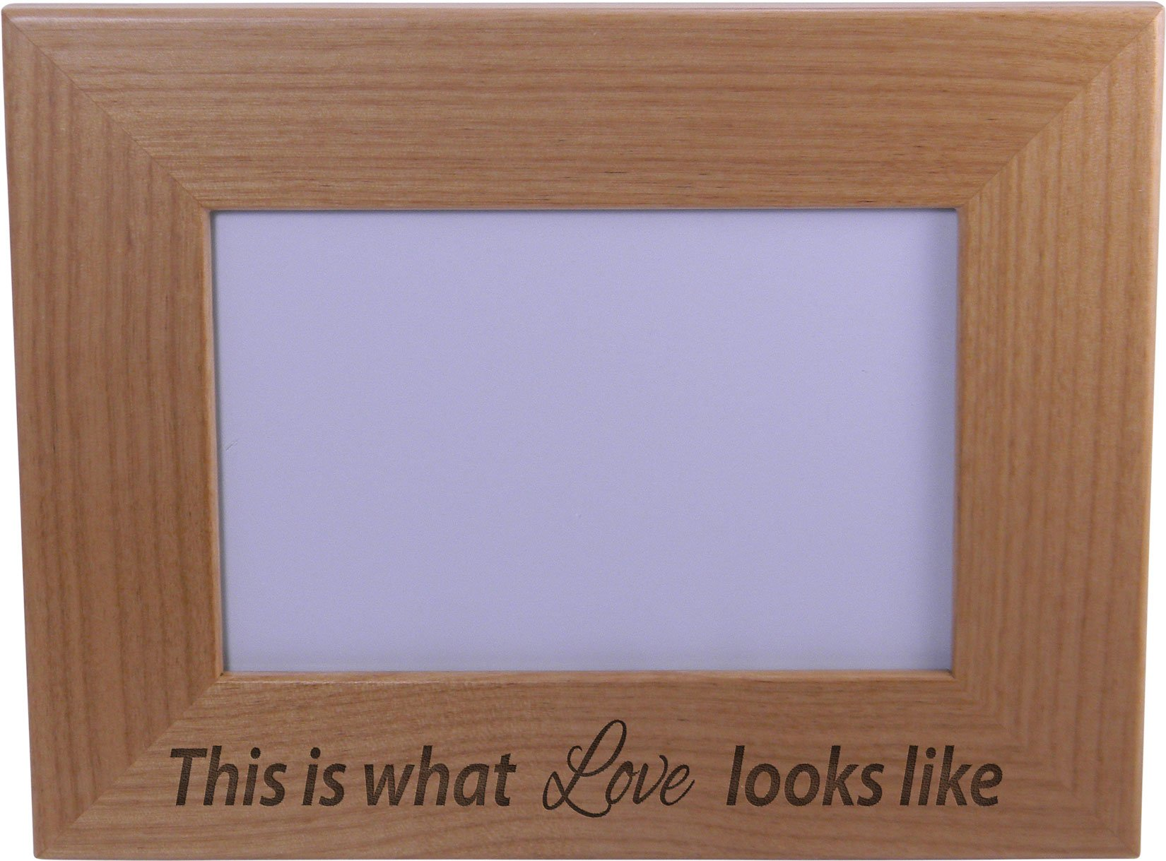 This is what love looks like - Wood Picture Frame Holds 4x6 Inch Photo - Great Gift for Mothers's, Father's Day, Birthday,Valentines Day, Anniversary or Christmas Gift