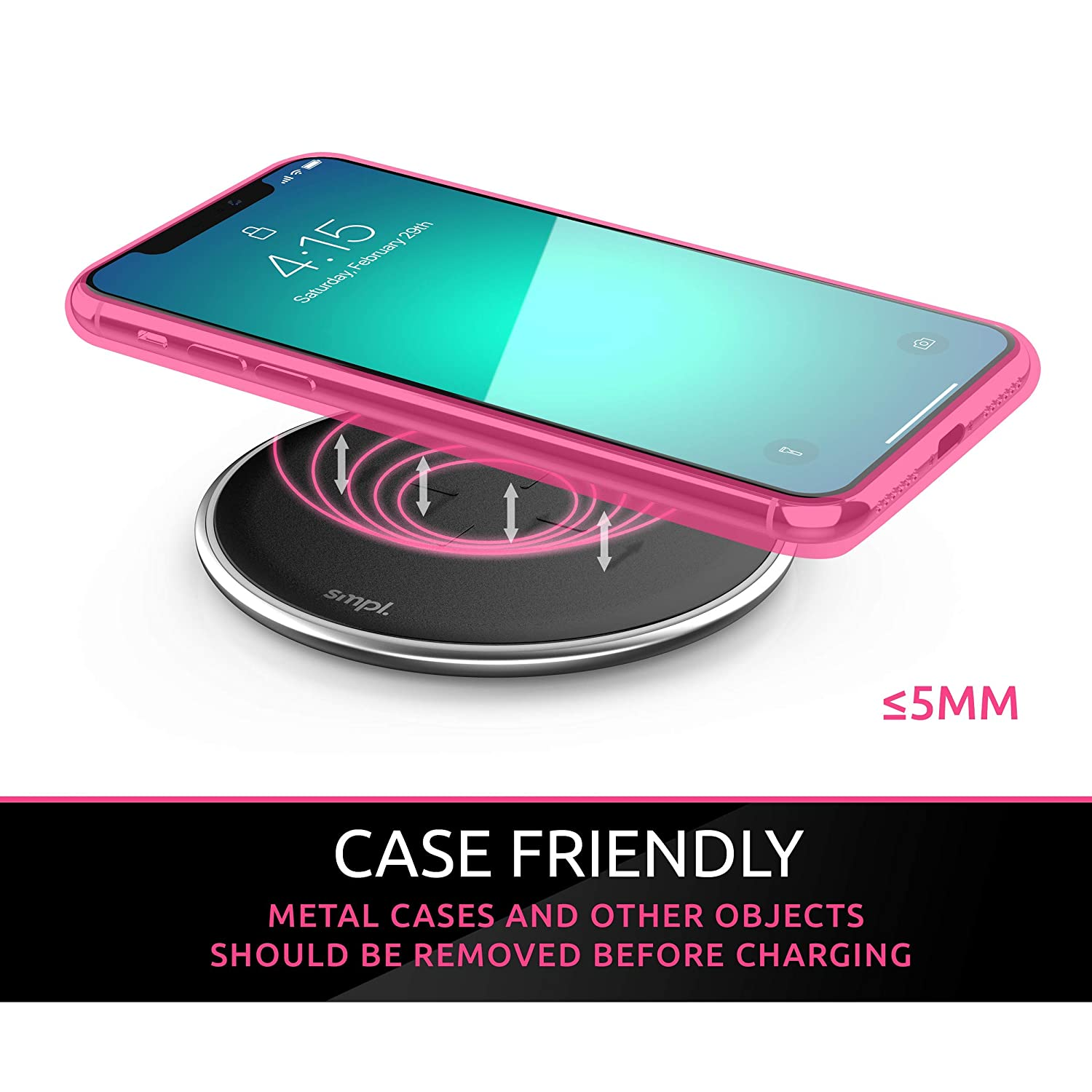 SMPL Black Galaxy S10//S9//S9+//S8//S8+//Note 9 and More 10W Wireless Charging Pad Fast Wireless Charger Compatible with iPhone Xs Max//XR//XS//X//8//8 Plus
