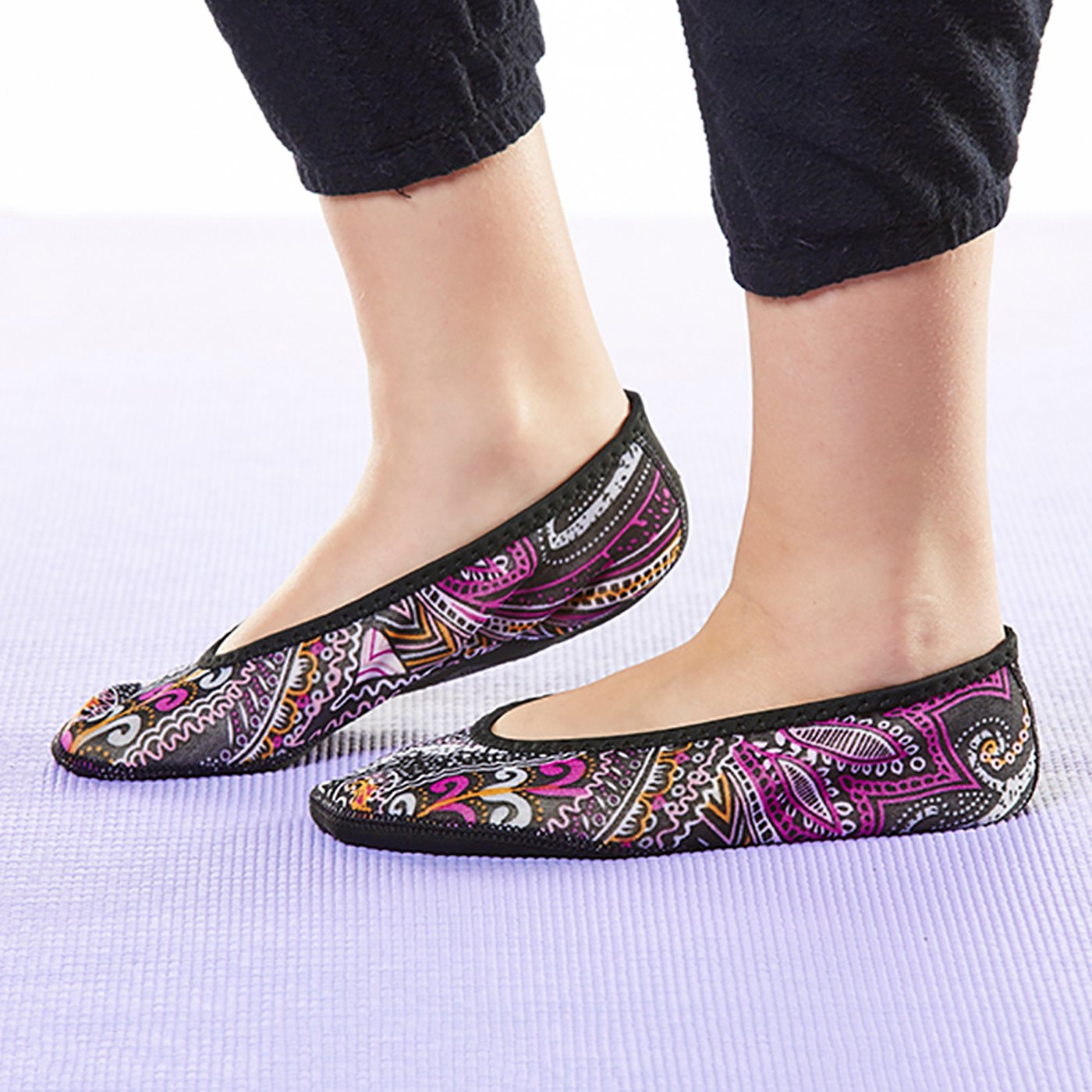 NuFoot Fuzzies Ballet Flats Women's Shoes, Best Foldable & Flexible Flats, Slipper Socks, Travel Slippers & Exercise Shoes, Dance Shoes, Yoga Socks, House Shoes, Indoor Slippers, Paisley, Large