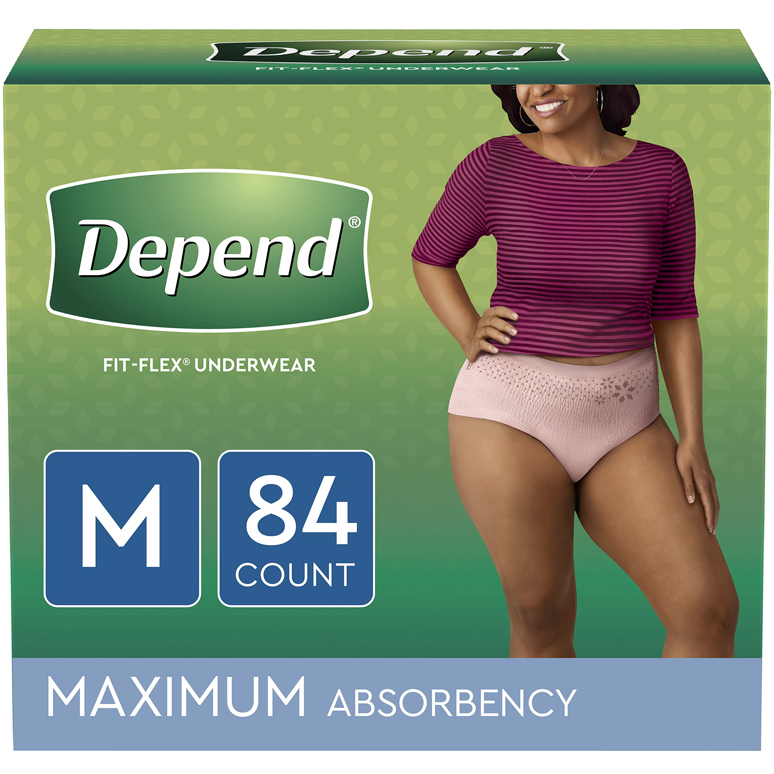 Depend FIT-FLEX Incontinence Underwear for Women, Disposable, Maximum Absorbency, Medium, Blush, 84 Count by Depend