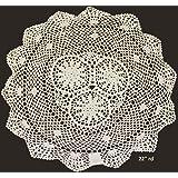 "Creative Linens 22"" Round Crochet Lace Doily Tablecloth BEIGE 100% Cotton Handmade 1PC"