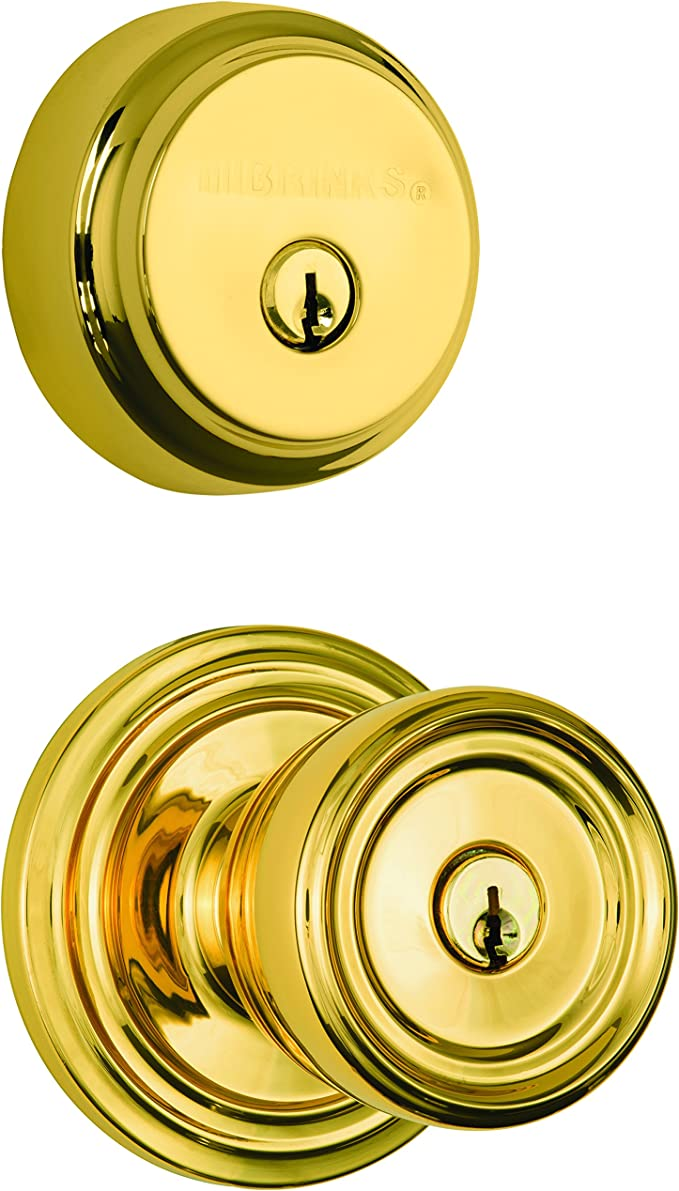Polished Brass Brinks 2704-105 Ball Style Keyed Alike Door Knob and Deadbolt Combo Pack