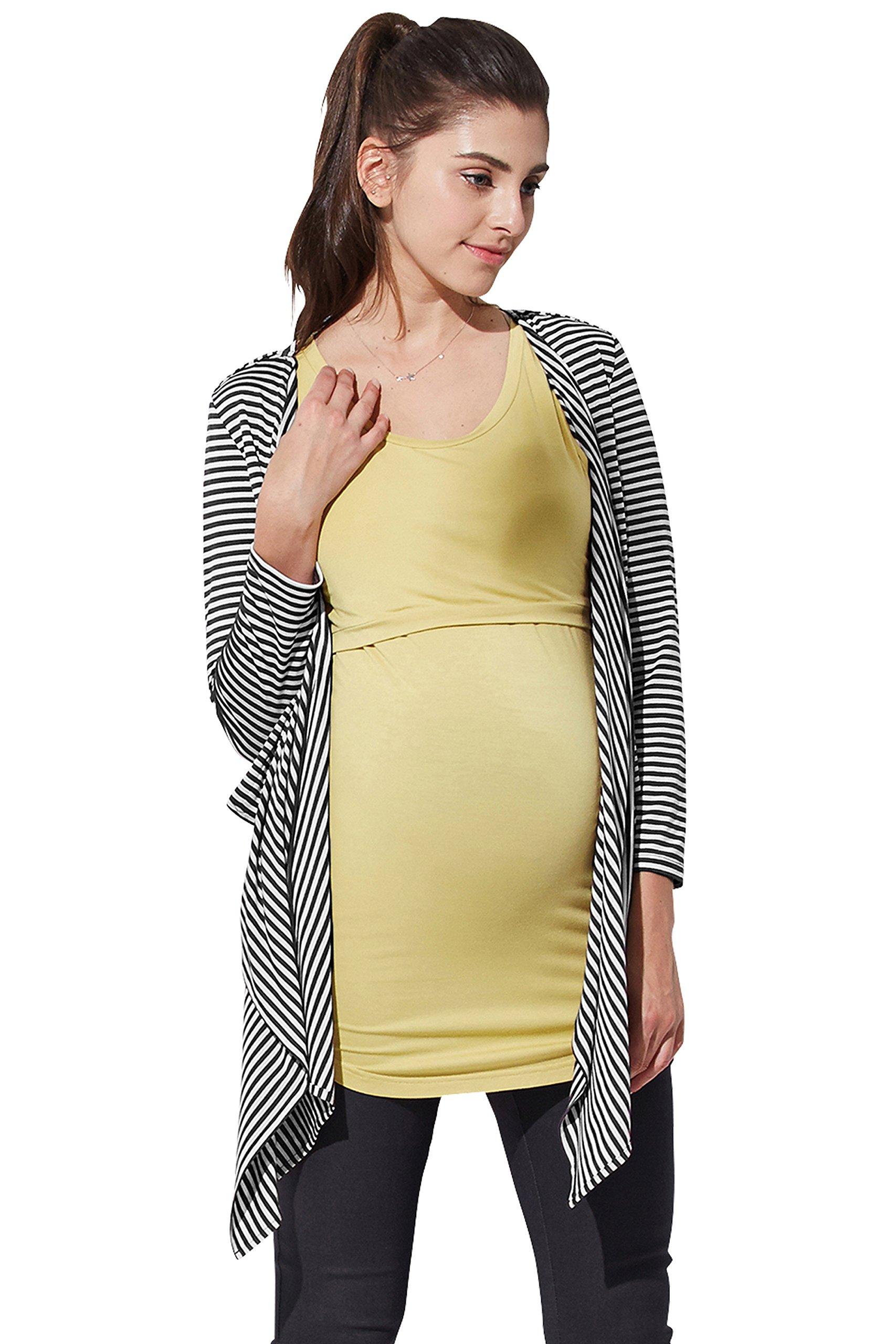 Sweet Mommy Nursing Cover Striped Drape Cardigan Blackwhite, M