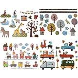 3 verschiedene Bögen: Fensterbilder / Wandtattoo / Wandsticker - Retro Kinder + Nostalgie - groß - Aufkleber Wandaufkleber für Mädchen Jungen - Bäume Eulen Fahrzeuge Zug Igel Zootiere - Wie bei Großmutter