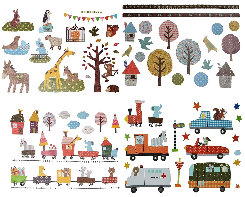 3 verschiedene Bögen: Fensterbilder / Wandtattoo / Wandsticker - Retro Kinder + Nostalgie - groß - Aufkleber Wandaufkleber für Mädchen Jungen - Bäume Eulen Fahrzeuge Zug Igel Zootiere - Wie bei Großmutter Kinder-land
