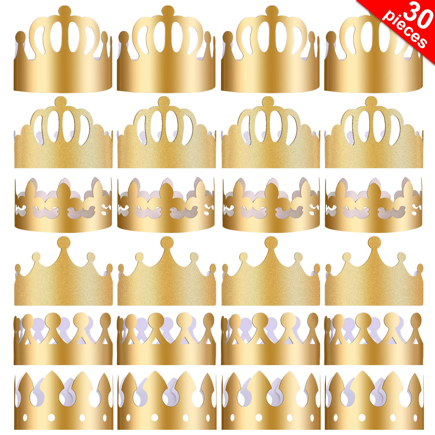 Yaomiao 30 Pieces Paper Party Crowns Gold Crown Hats King Crown for Birthday Party Photo Props