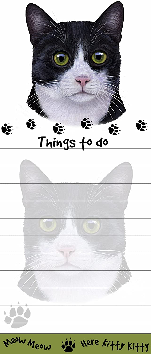"""Cat Magnetic List Pads"" Uniquely Shaped Sticky Notepad Measures 8.5 by 3.5 Inches E&S Pets Black and White cat Notepad"