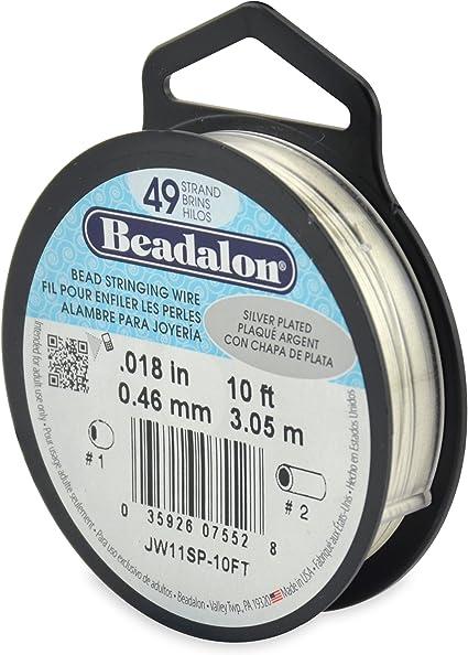 0.018-Inch Silver Color Beadalon 49-Strand Bead Stringing Wire 30-Feet