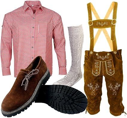 ALL THE GOOD Herren Trachten set Oktoberfest (Hose + Hemd + Schuhe + Socken) Bayerische Lederhose Trachtenhose B1