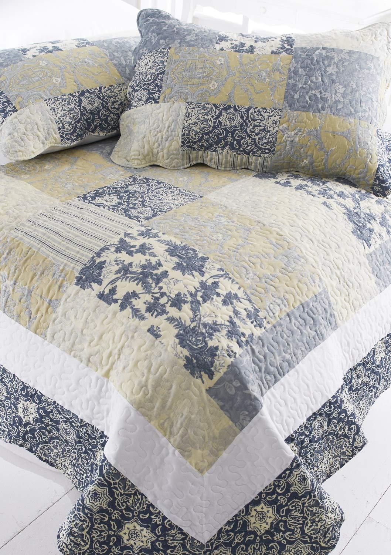 Contemporary Toile Floral Bedspread Quilt Set Blue/Lemon Comforter Double 240 x 260 cm + 2 Pillow Shams Sashi