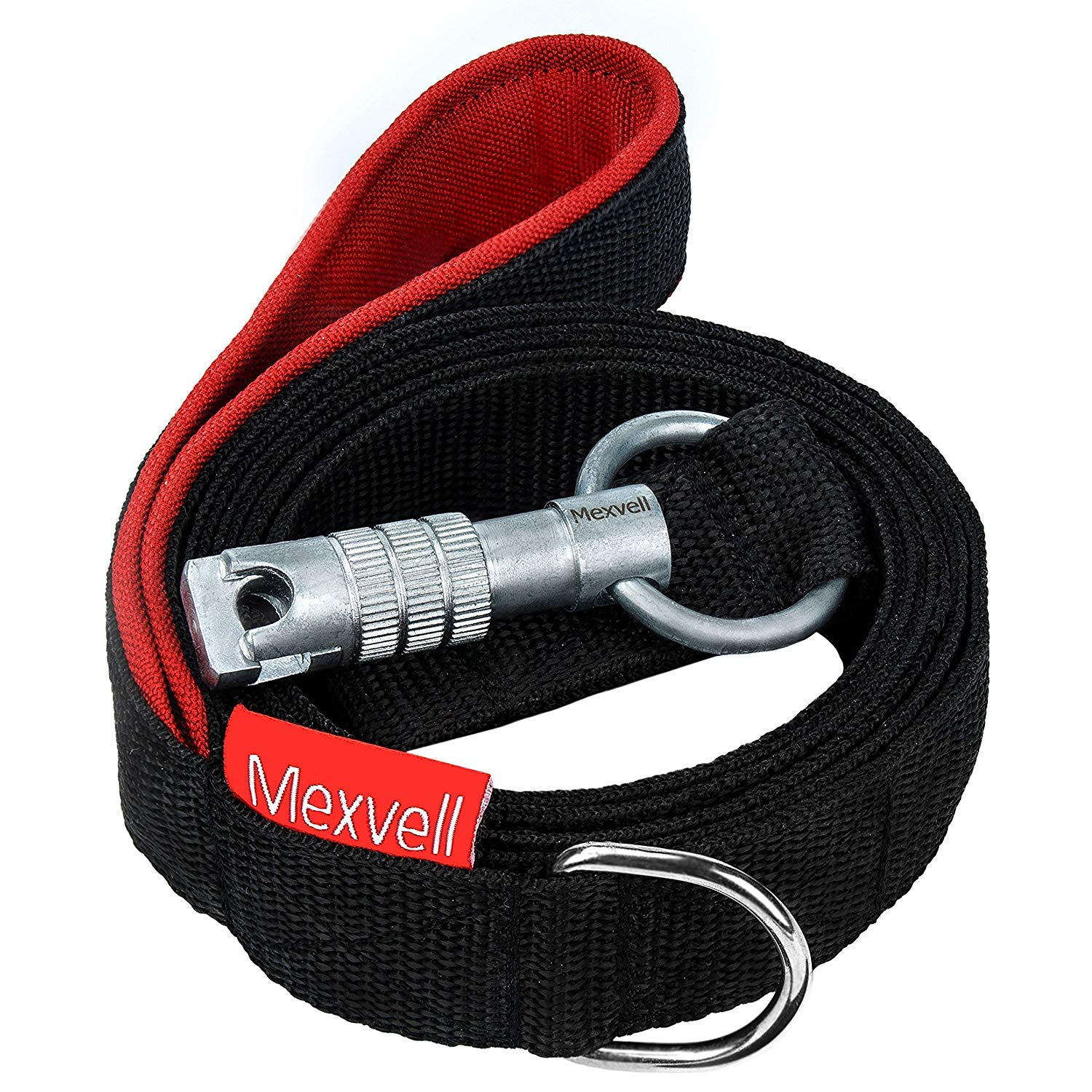 Dog Leash with Unbreakable Carabiner by Mexvell - Perfect for Large, Medium and Strong Small Dogs - Extra Heavy Duty and Durable - Padded Handle - Black, 6 ft Long, Thick 3mm Nylon, 1 Inch Wide by Mexvell