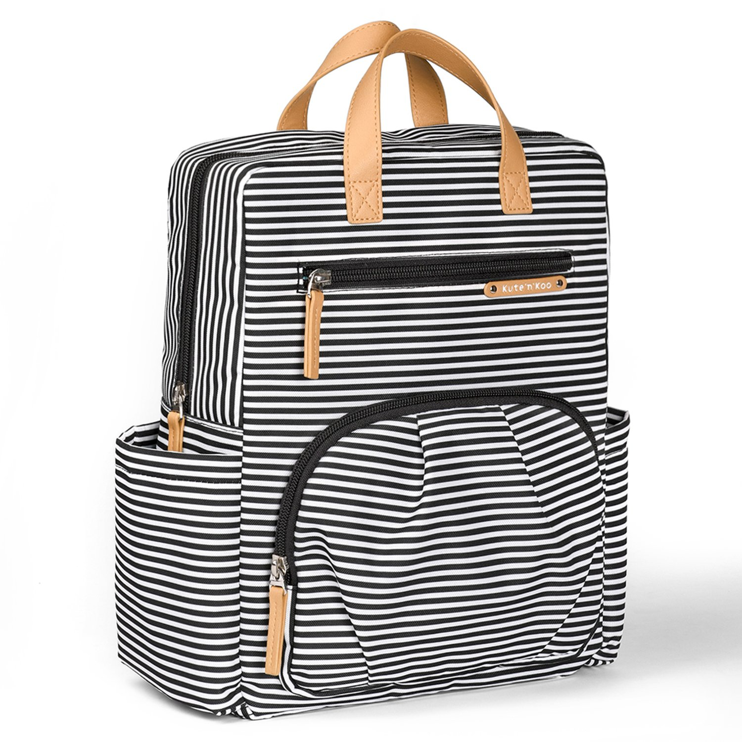 Diaper Bag Backpack by Kute 'n' Koo - New Enhanced Version - Designer Diaper Bag, Stroller Straps, Changing Pad and 5 Stunning Colors (Toddler Edition, French Stripe) by Kute 'n' Koo