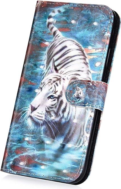 Surakey Coque Huawei Y6 2017 étui à Rabat en Cuir, 3D Effet Paillette Imprimé Motif Etui Housse Cuir PU Portefeuille Folio Flip Case Cover Wallet ...