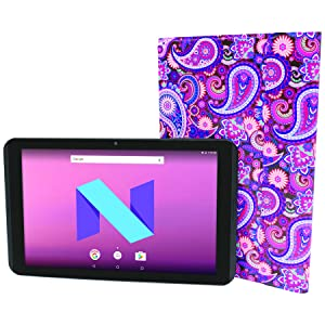 Visual Land Prestige Elite 10.1 IPS [2 in 1] Quad Core 64Bit 16GB Android 7.0 Nougat Tablet with Docking Keyboard Case Stand, Paisley (ME10QDDC16MAGP) (Color: Paisley)