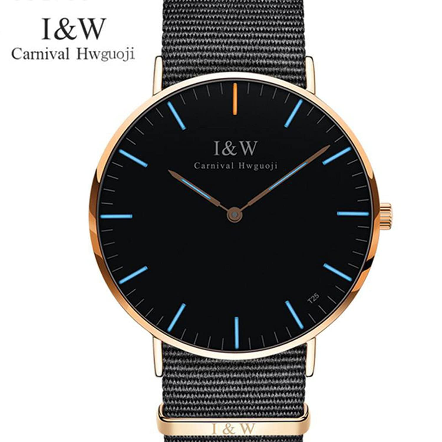 Amazon.com : Simple lady Carnival T25 Tritium Luminous wristwatches women Luxury swiss Brand Quartz military clock relogio watch Men lovers : Everything ...