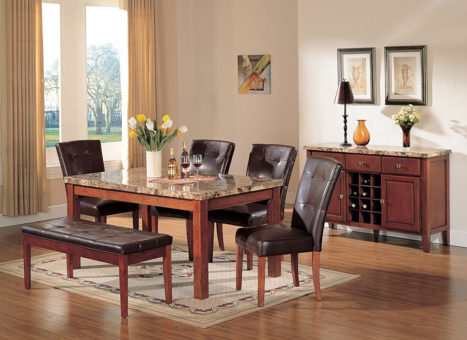 Amazon.com - ACME Bologna Brown Marble Top Dining Table Cherry Finish - Table u0026 Chair Sets & Amazon.com - ACME Bologna Brown Marble Top Dining Table Cherry ...