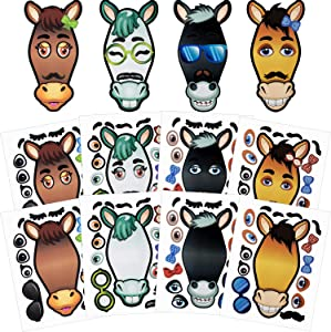 Outus 28 Sheets Make A Horse Stickers Horse Decal Stickers for Zoo Barnyard Theme Birthday Party Decorations, 4 Styles