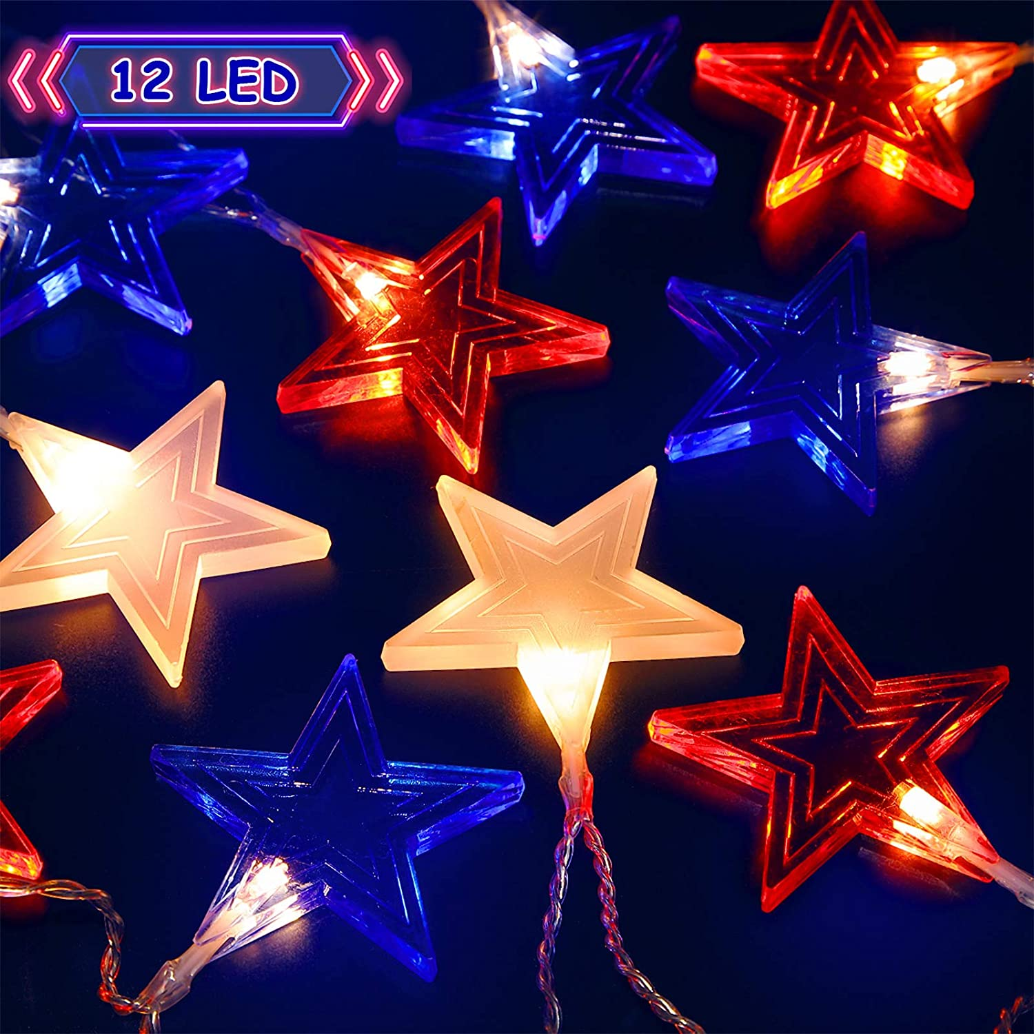 Star String Lights for Independence Day Decor, 6.6 ft 12 LEDs USA American Stars Flag Lighting, Red White Blue Lights Battery Operated Indoor Outdoor July 4th Lights Patriotic Decoration