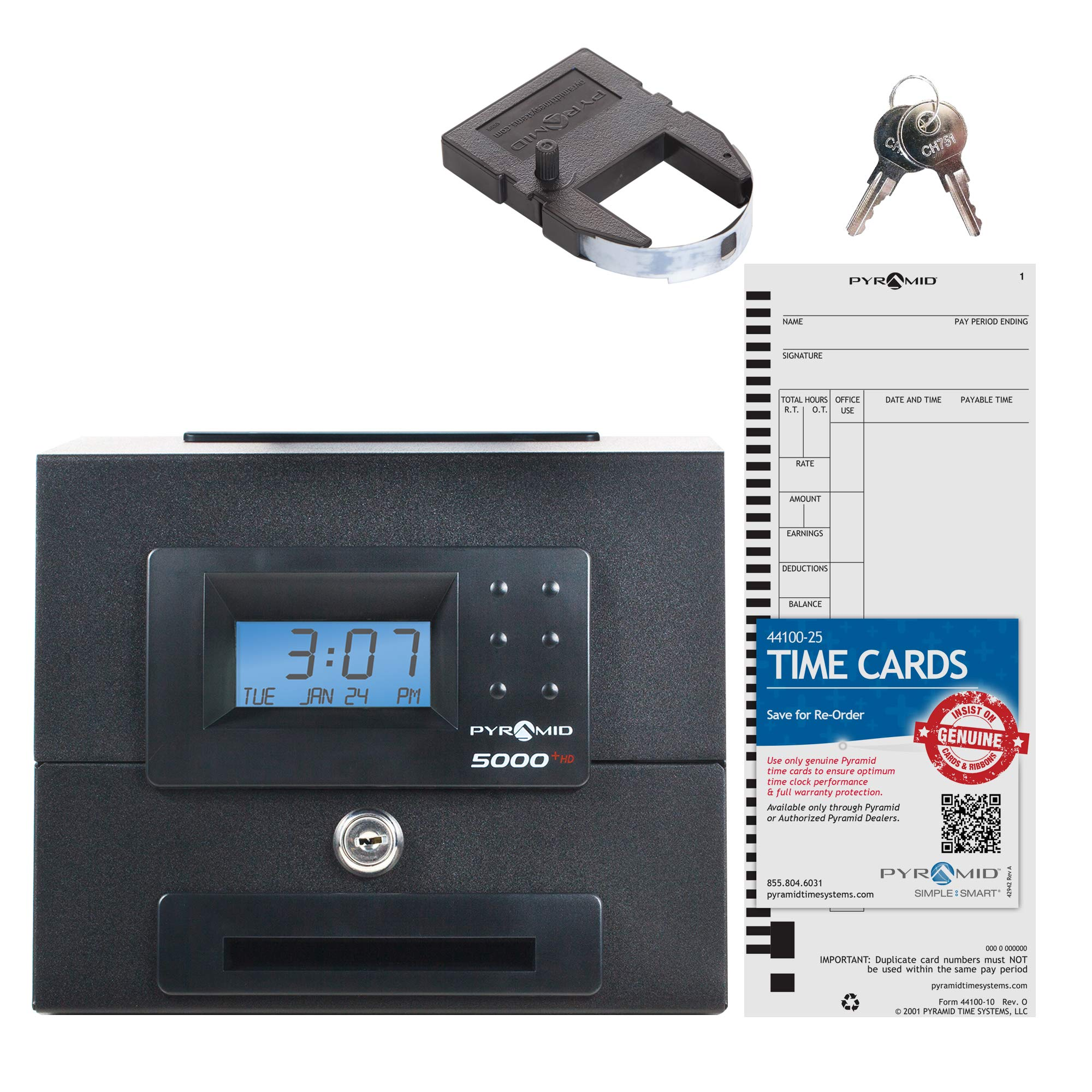 Pyramid 5000HD Heavy Duty Steel Auto Totaling Time Clock - Made in the USA by Pyramid Time Systems