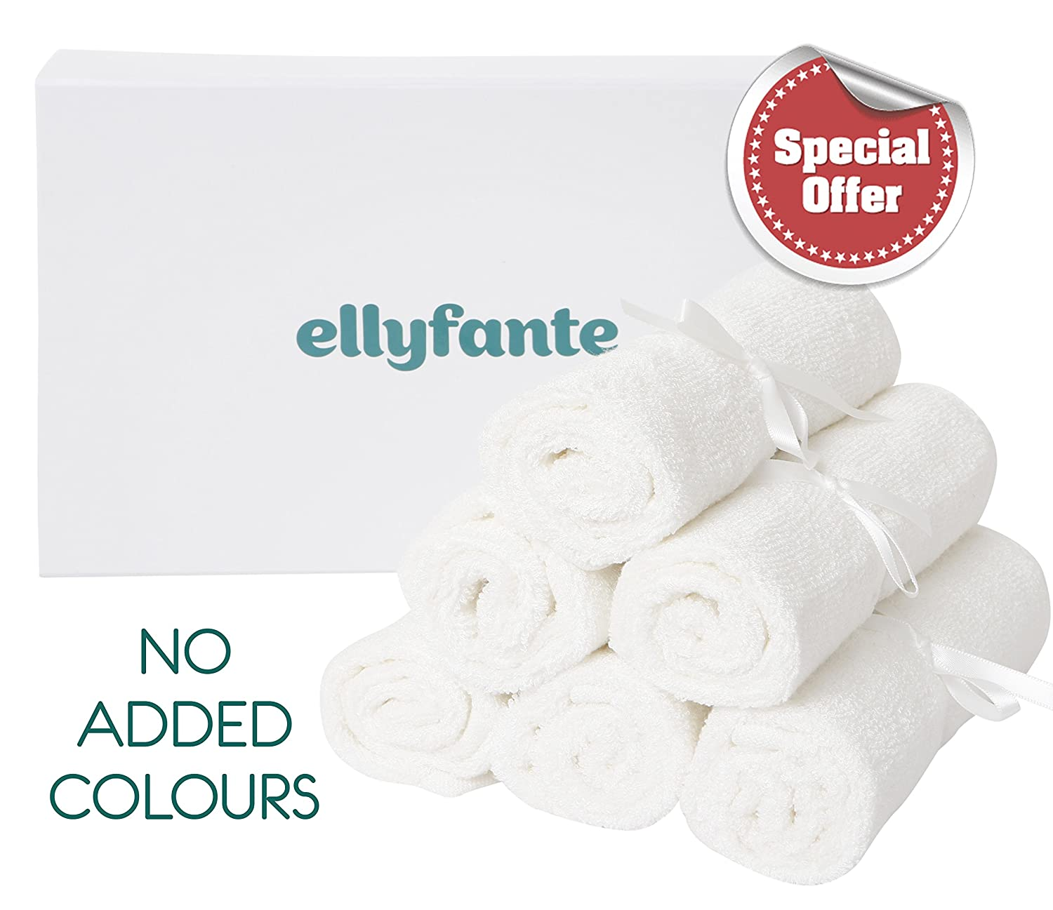 Ellyfante Premium Bamboo Baby Washcloths Gift Set | Pack of 6 Organic Bamboo Baby Washcloth Flannels | Generously large sized at 13 x 12 inches (34cm x 30cm) | Perfect New Baby Gift for Parents | Super Soft, Smooth on skin, Organic and Eco-Friendly Face W