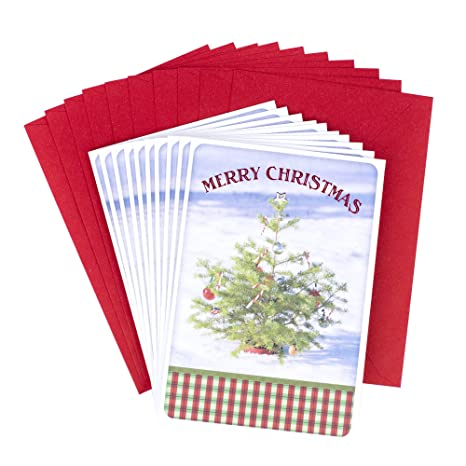 Hallmark Christmas Cards.Hallmark Christmas Cards Pack Christmas Tree In Snow 10 Cards With Envelopes