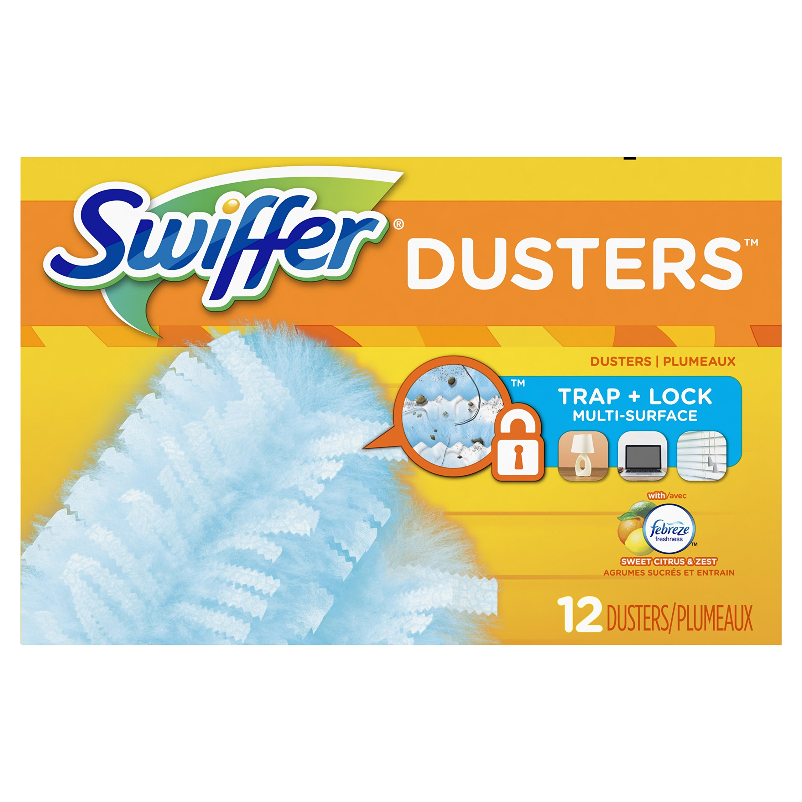 Swiffer Dusters Disposable Cleaning Dusters Refills Febreze Sweet Citrus and Zest Scent, 12 Count