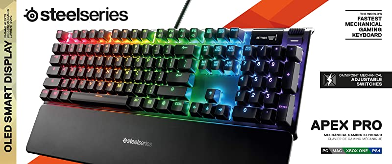 SteelSeries Apex Pro Mechanical Gaming Keyboard – Adjustable Actuation Switches