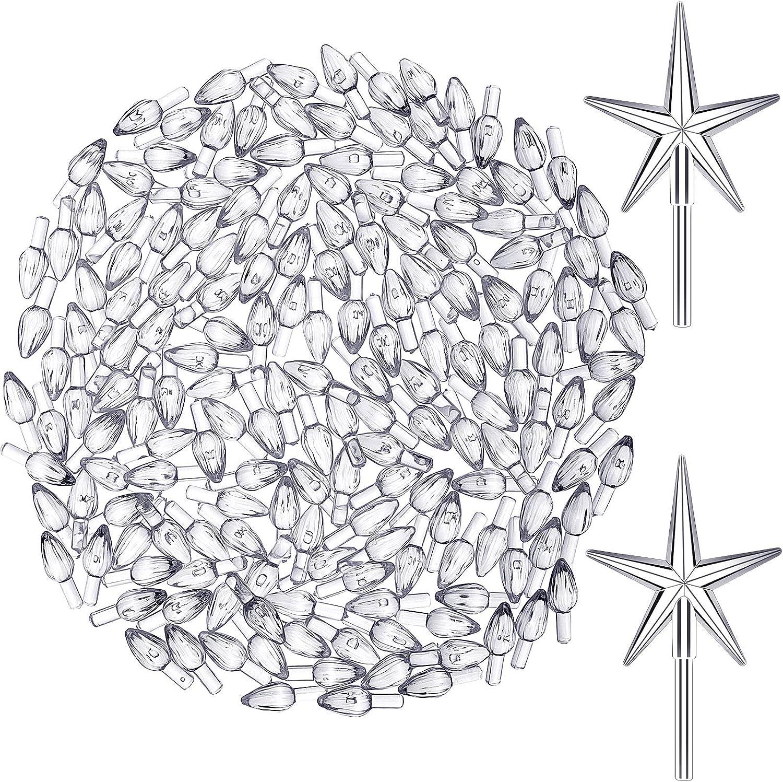 202 Pieces Plastic Ceramic Christmas Tree Lights Plastic Light Decorations for Christmas Tree Ornaments, Light and Star Shape, Transparent