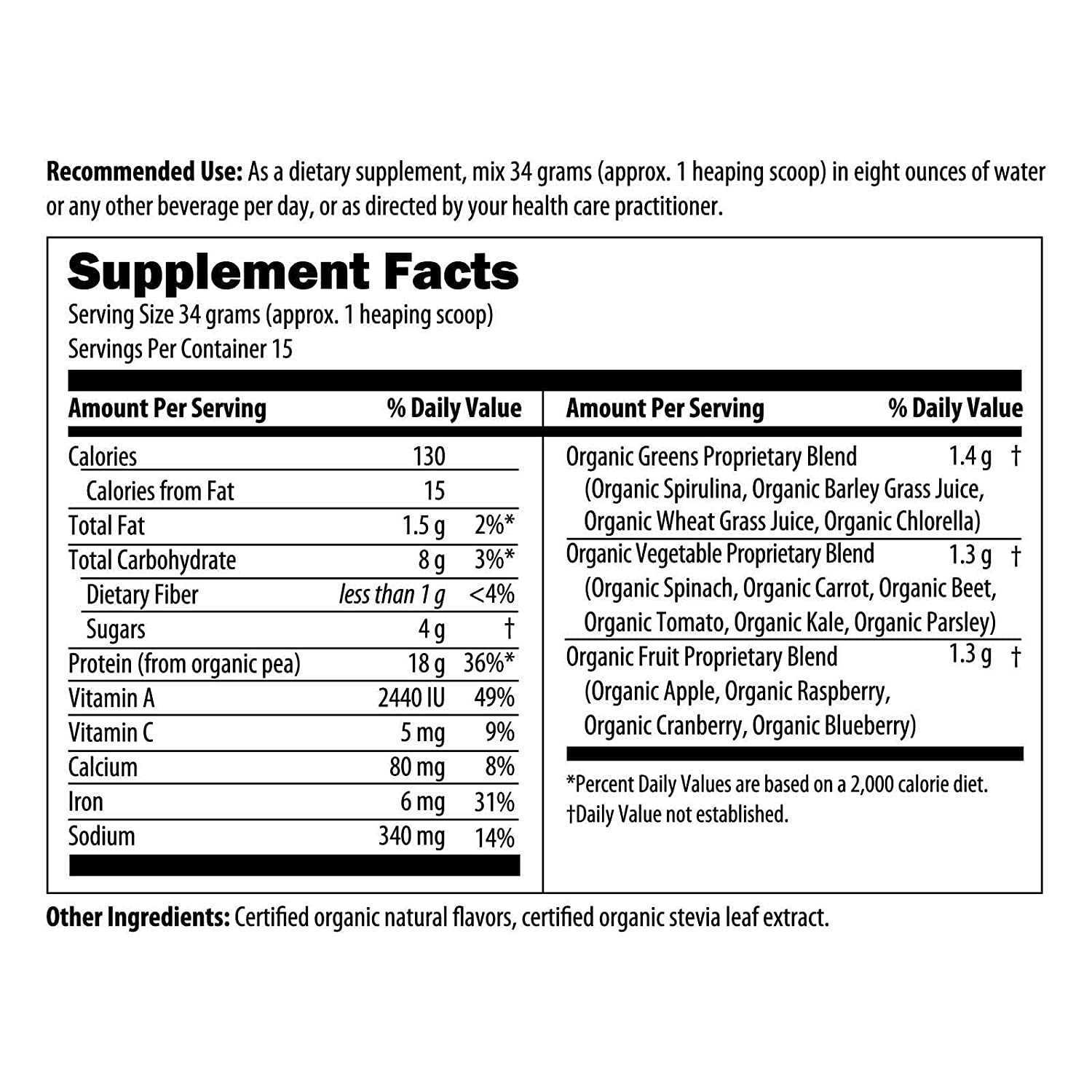 Designs for Health – Organic PurePea Plus, Vanilla Organic Vegan Protein with Greens, Naturally Flavored, 510g, 15 Servings