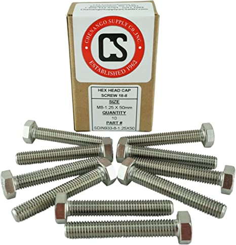 Stainless M6-1.0 x 50mm Fully Threaded Hex Head Bolts 12mm to 60mm Length in Listing 18-8 Stainless Steel M6-1.0 x 50mm DIN 933 15 Pieces