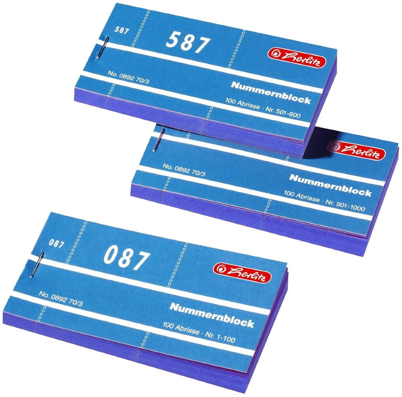 Herlitz Nummernbl/öcke 1-1000 Nummer 1-1000 10x100 Abrisse blau