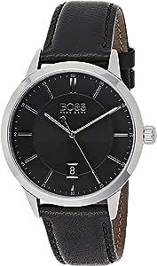 Hugo Boss Men'S Black Dial Black Leather Watch - 1513611