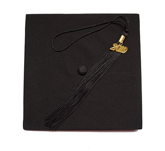 c612428e38 Matte Adult Unisex Graduation Cap With Tassel 2019 Year Charm Grad Days  Black