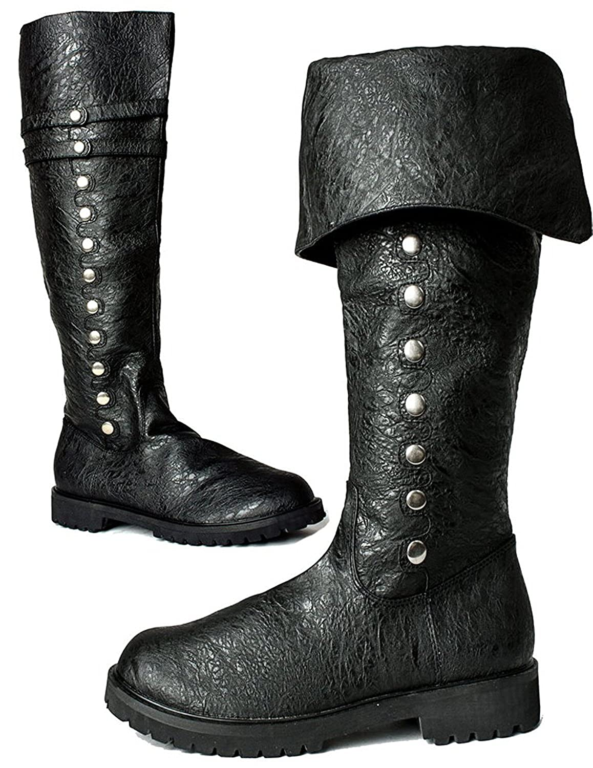 Deluxe Adult Costumes - Men's Assassin's Creed black military silver-tone stud fold over the knee boots.