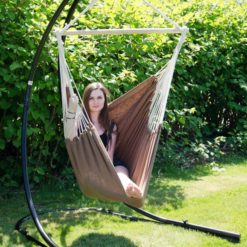 AMANKA XXL Si/ège Suspendu en Toile de Coton 185x130cm hamac pour sasseoir Lilas