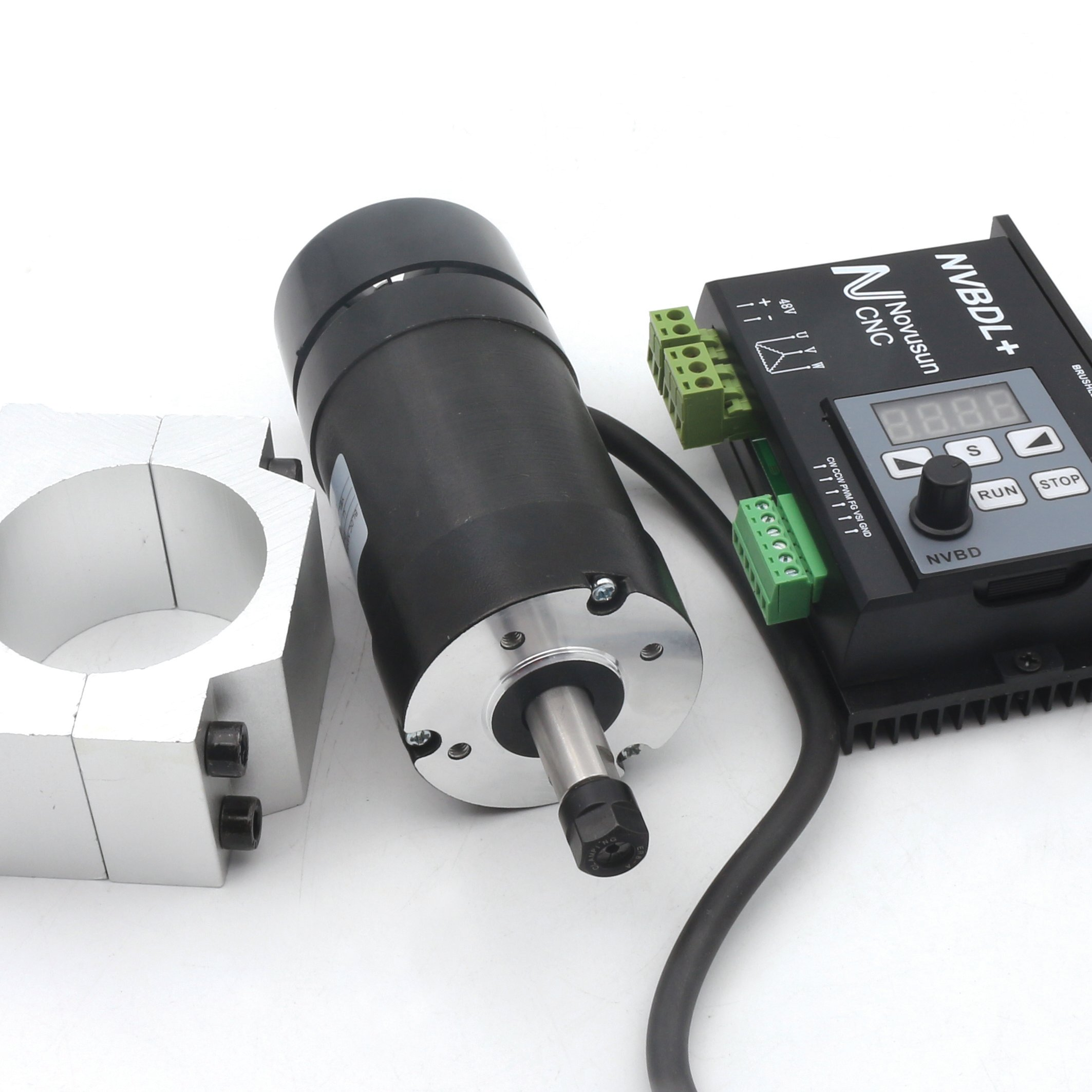 400W CNC DC Air Cooled Spindle Motor ER8 NVBDL+ 12000rpm Brushless Spindle Motor kit + 600w Brushless Motor Driver Without Hall LCD Panel + 55mm Mount Bracket 【For small and medium-sized processing】 by RATTMMOTOR