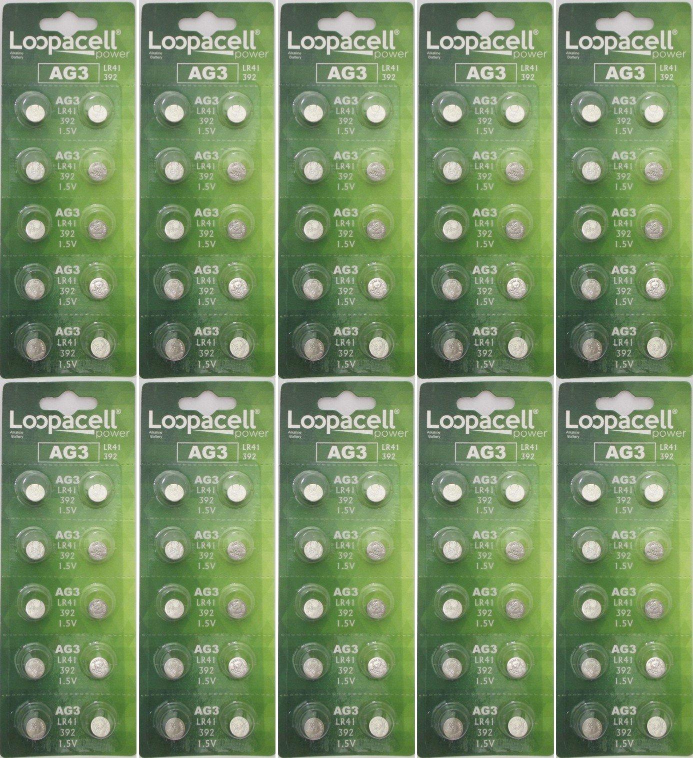 LOOPACELL 100 Pack AG3 LR41 392 SR41SW 384 192 V384 V392 D384 D392 280-13 Alkaline Button Cell Battery