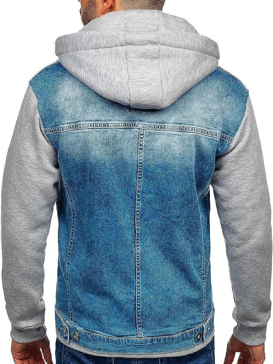 BOLF Herren Jeansjacke /Übergangsjacke Trucker Jacket Sherpa Jacke mit Fell Teddyfell Jeans Denim Jacket Freizeitjacke Vintage Retro Classic Street Style 4D4