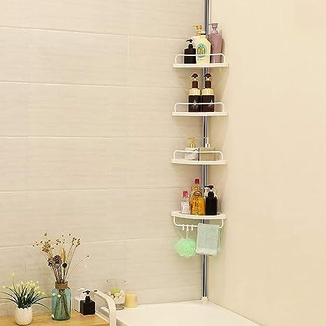 iWork Estanteria de baño para Ducha con 4 estantes y de Altura Ajustable de 1 ma 3,2 m.