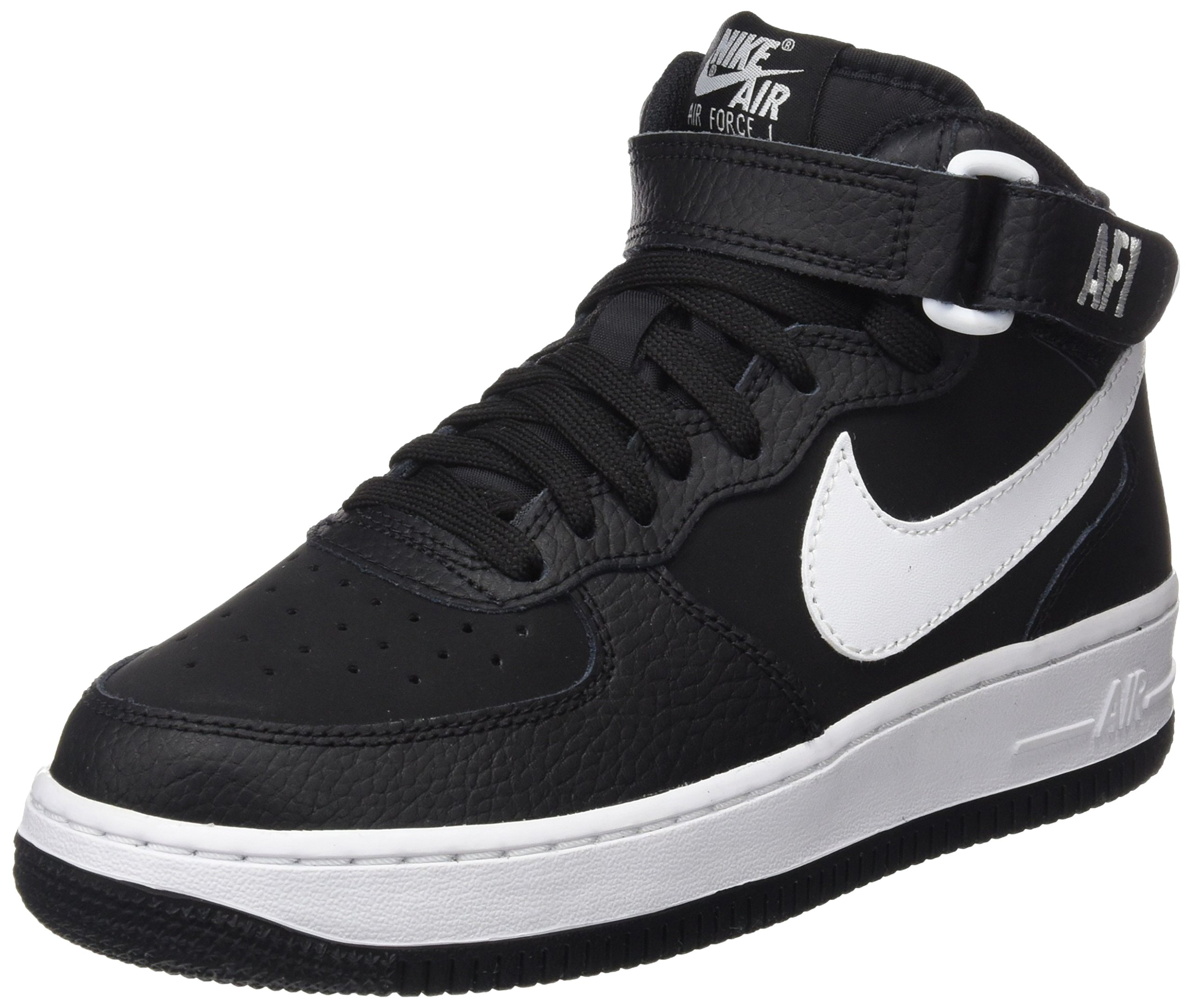 fed6b7324f20f Galleon - Nike Kids AIR Force 1 MID (GS) Black White Size 7