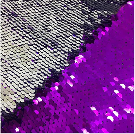 100+ Yards Available Sequin Fabric By The Yard Reversible Sequin Fabric Aqua /& Purple Sequins